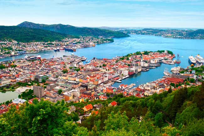 Bergen is located on the west coast of Norway. Is the second largest city in Norway after Oslo.