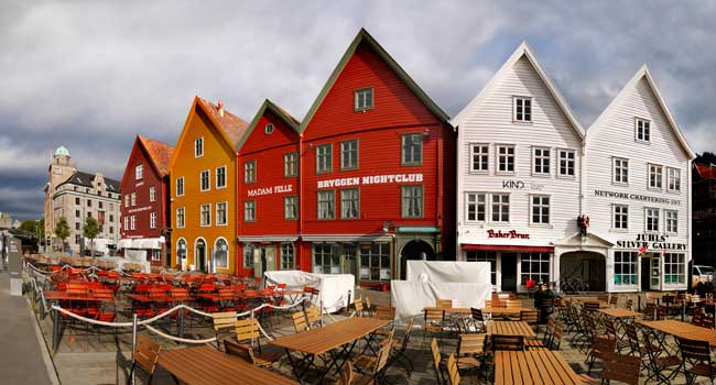 One of the most interesting places in the city are the remains of the quays, Bryggen, which nowadays is a World Heritage Site.